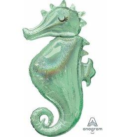 "Mermaid Wishes Sea Horse 38"" Mylar Balloon"