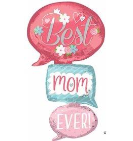 Best Mom Ever Bubble Multi Mylar  Balloon