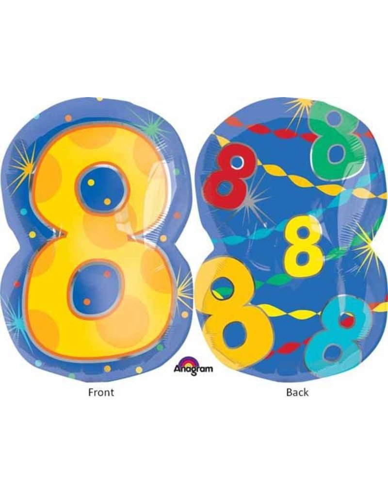 "#8 Multicolour Shape 18"" Mylar Balloon"