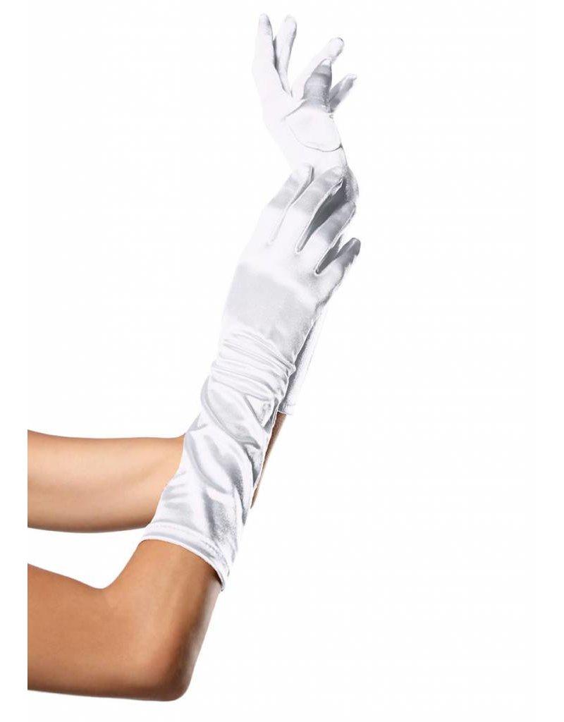 White Elbow Length Satin Gloves