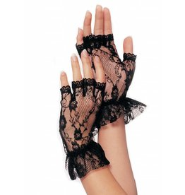 Black Lace Fingerless Wrist Ruffle Gloves