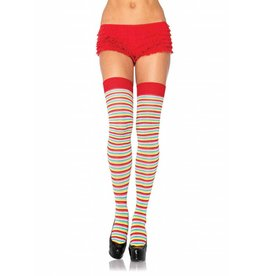 Mini Stripe Rainbow Thigh High Socks