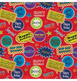 Value Roll Gift Wrap Red Thought Bubbles Birthday