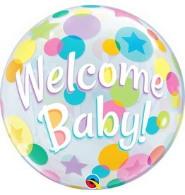 "Welcome Baby Dots 22"" Bubble Balloon"