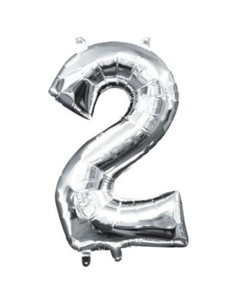 "Air-Filled Number ""2""- Silver 16"" Balloon (Will Not Float)"