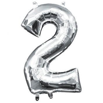 """Air-Filled Number """"2""""- Silver 16"""" Balloon (Will Not Float)"""