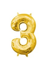 """Air-Filled Number """"3""""- Gold 16"""" Balloon (Will Not Float)"""