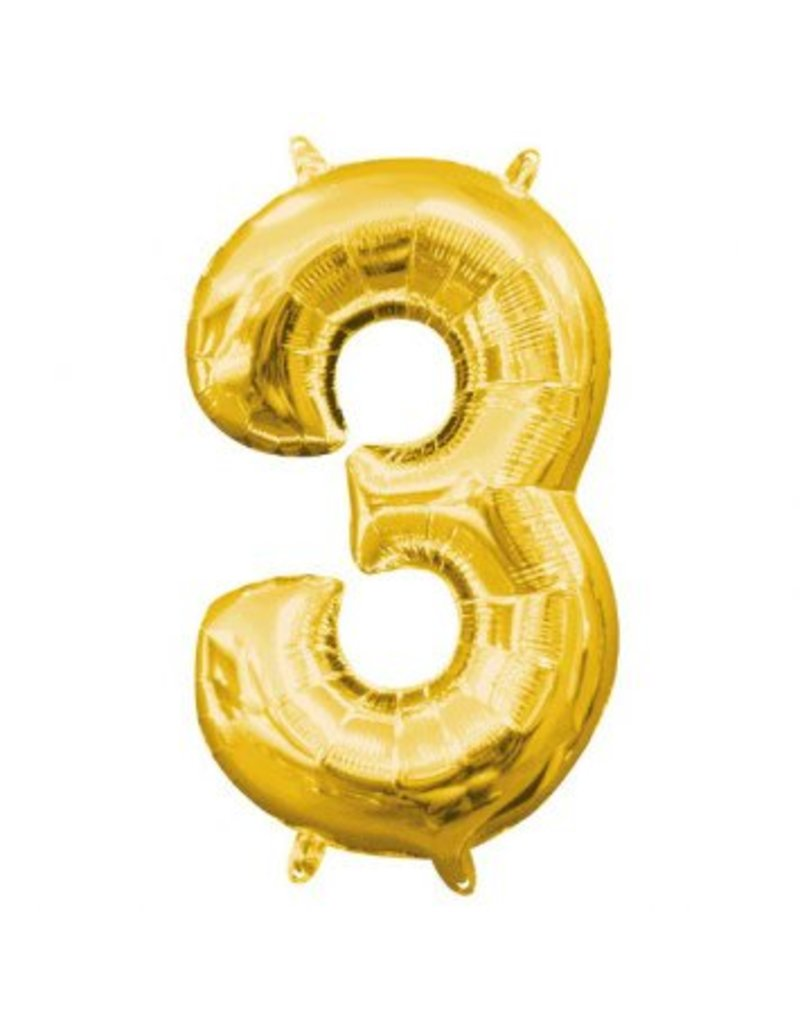 "Air-Filled Number ""3""- Gold 16"" Balloon (Will Not Float)"