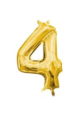 "Air-Filled Number ""4""- Gold 16"" Balloon (Will Not Float)"