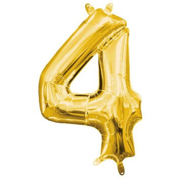 """Air-Filled Number """"4""""- Gold 16"""" Balloon (Will Not Float)"""
