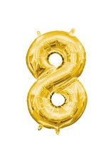 "Air-Filled Number ""8""- Gold 16"" Balloon (Will Not Float)"
