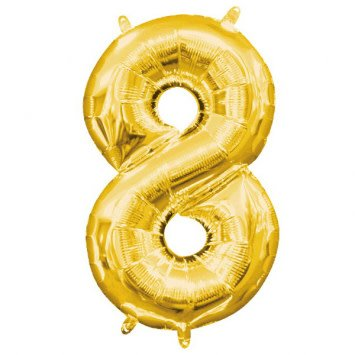 """Air-Filled Number """"8""""- Gold 16"""" Balloon (Will Not Float)"""