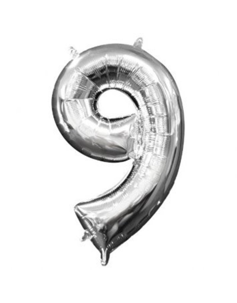 "Air-Filled Number ""9""- Silver 16"" Balloon (Will Not Float)"