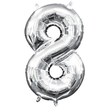 """Air-Filled Number """"8""""- Silver 16"""" Balloon (Will Not Float)"""