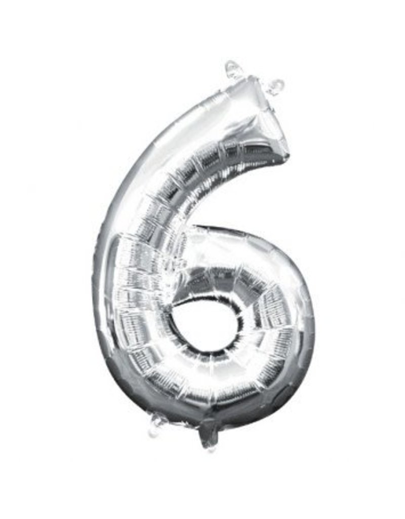 "Air-Filled Number ""6""- Silver 16"" Balloon (Will Not Float)"