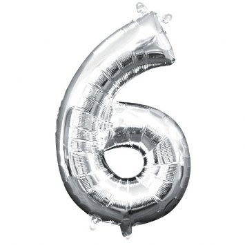 """Air-Filled Number """"6""""- Silver 16"""" Balloon (Will Not Float)"""