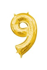"Air-Filled Number ""9""- Gold 16"" Balloon (Will Not Float)"