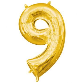 """Air-Filled Number """"9""""- Gold 16"""" Balloon (Will Not Float)"""