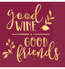 Good Wine & Good Friends Beverage Napkins (16)