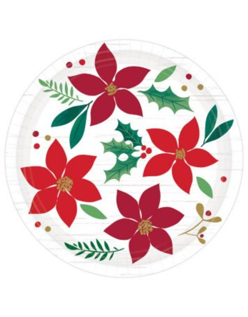 """Christmas Wishes Round Plates, 7"""" (8)"""