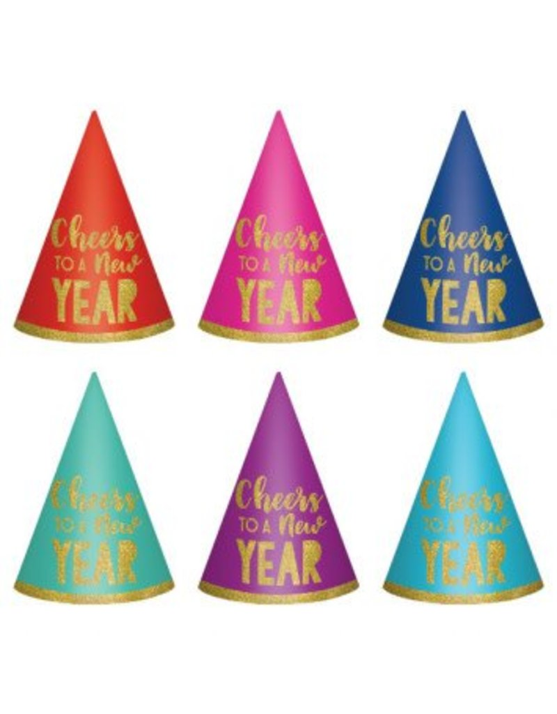 New Year's Cone Hats - Multi (6)