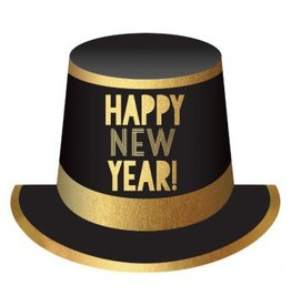 Happy New Year Top Hat - Black, Gold