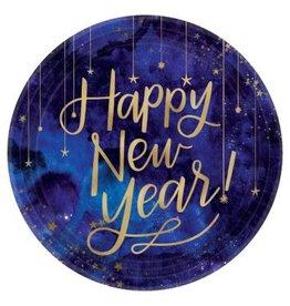 "Midnight New Year's Eve Round Metallic Plates, 10 1/2"""