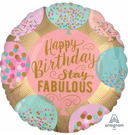 "Birthday Stay Fabulous 18"" Mylar Balloon"