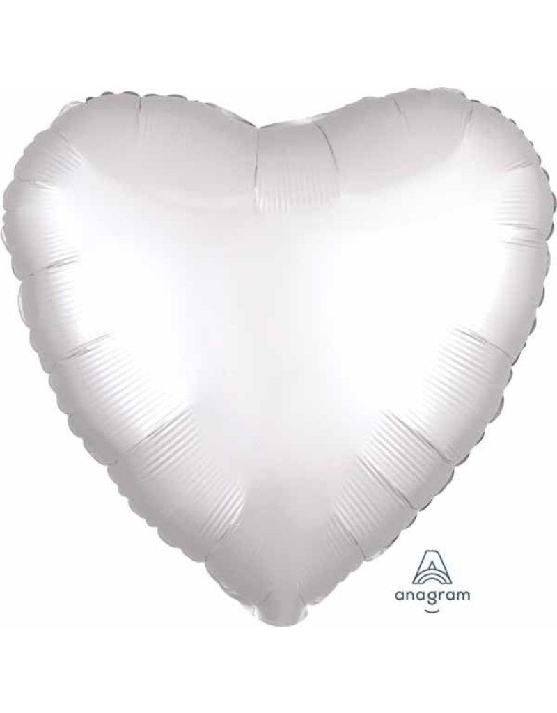 """White Heart Satin Luxe 18"""" Mylar Balloon"""