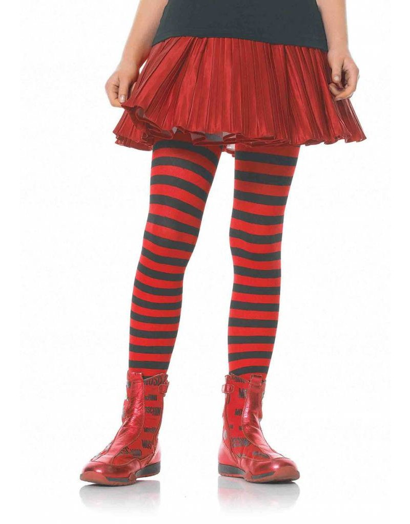 Red & Black Striped Pantyhose Large (Child Size)