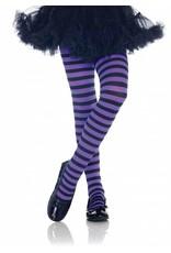 Purple & Black Striped Pantyhose Medium (Child Size)