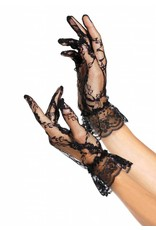 Wrist Length Black Lace Gloves with Ruffle
