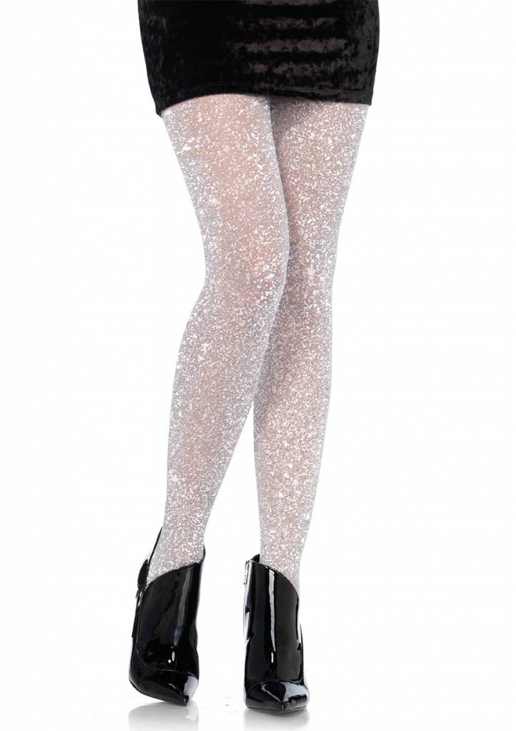 Lurex Shimmer Silver Tights
