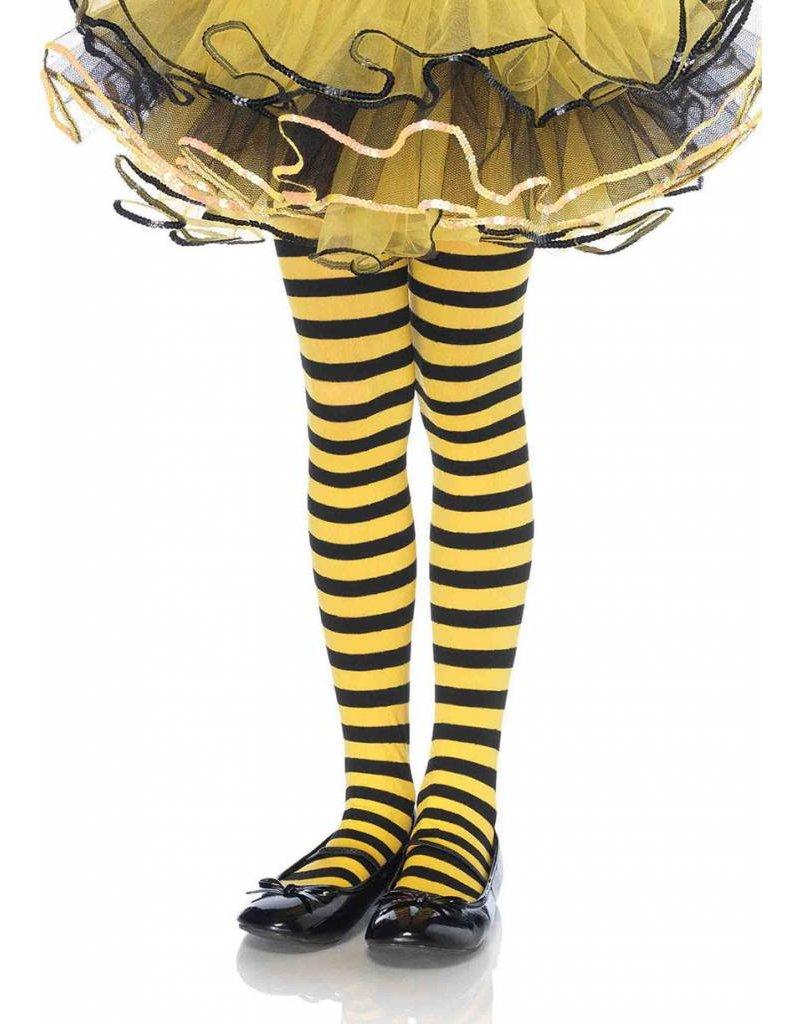 Yellow & Black Striped Pantyhose Large (Child Size)