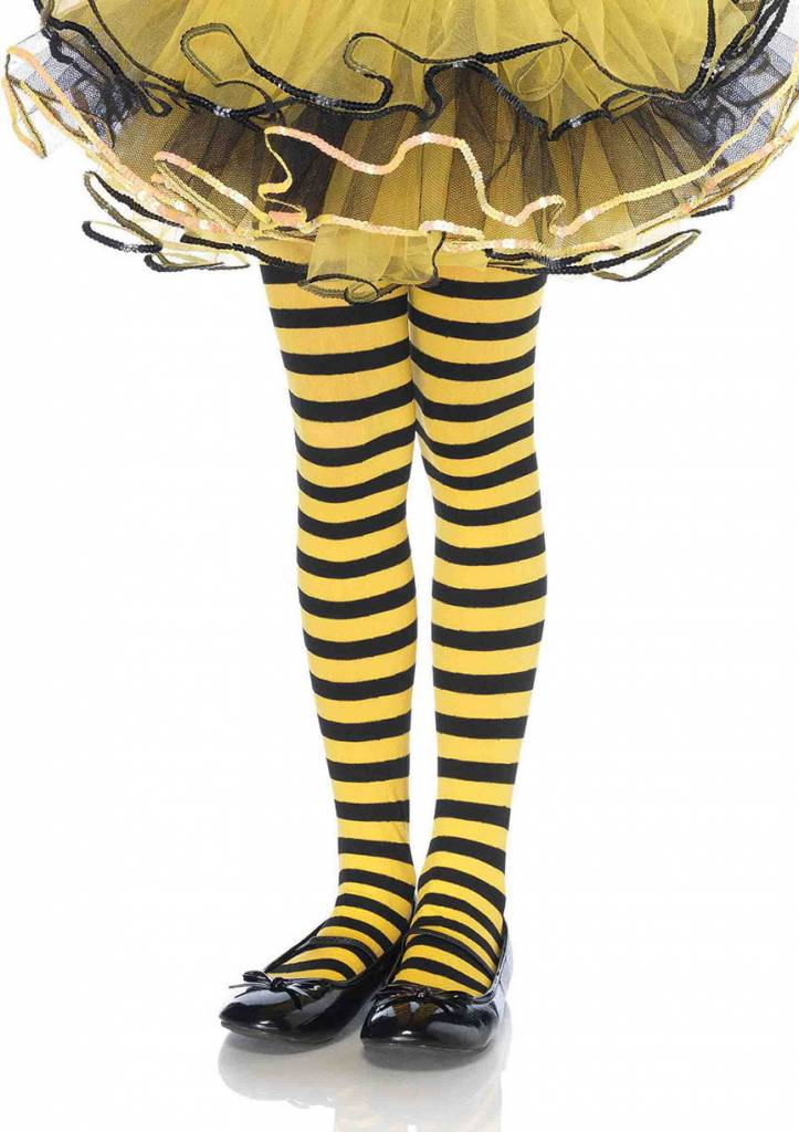 Yellow & Black Striped Pantyhose Large (Child Size)