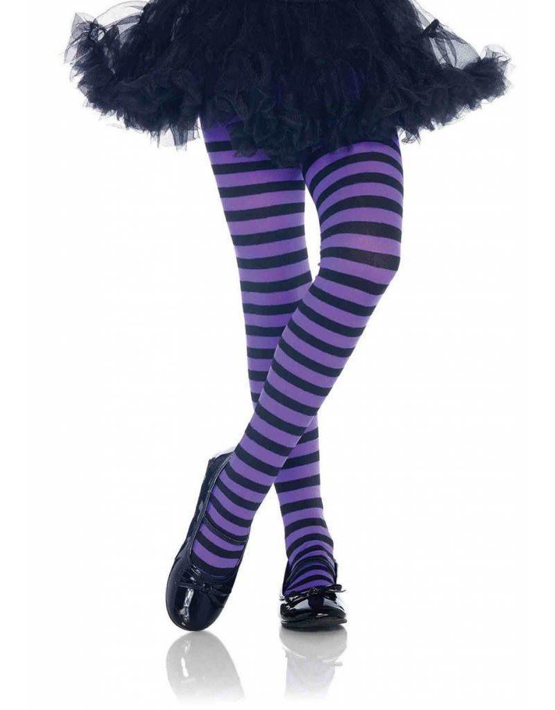 Purple & Black Striped Pantyhose Large (Child Size)