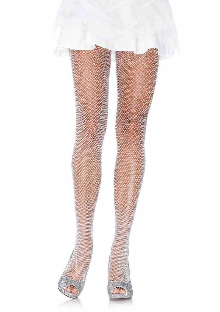 Spandex Glitter White and Silver Fishnet Tights