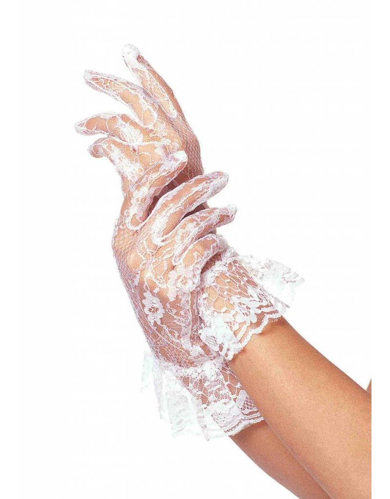 Wrist Length White Lace Gloves with Ruffle