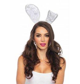 White Lace Bunny Ear Headband