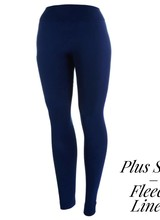 New Mix Fleece Lined Leggings - Plus Size