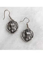 AccessHERize Horse Head Round Disc Earrings