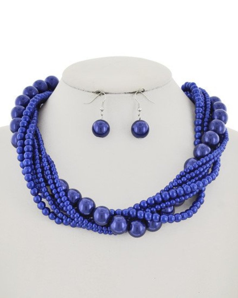 AccessHERize Twisted Bead Necklace - Royal Blue