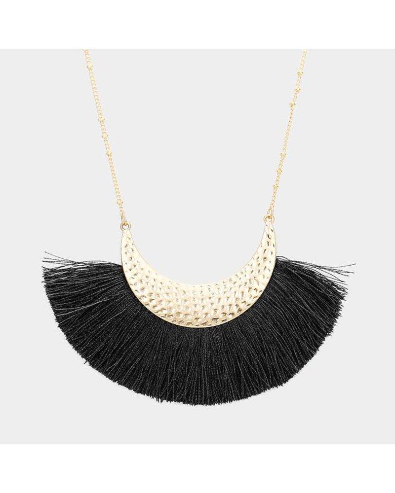 AccessHERize Crescent Fan Tassel Necklace
