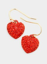 AccessHERize Red Crystal Pave Heart Earrings