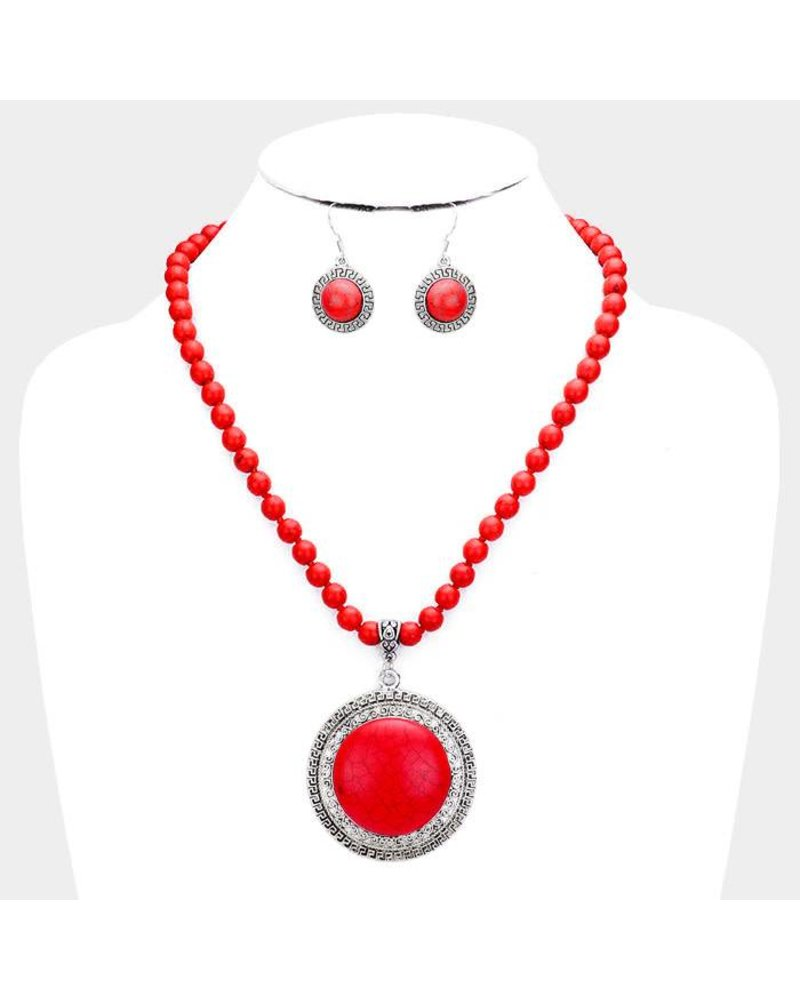 AccessHERize Red Stone Beaded Necklace