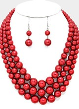 AccessHERize Red Triple Strand Beaded Necklace