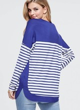 AccessHERize Royal and White Striped V Neck Top