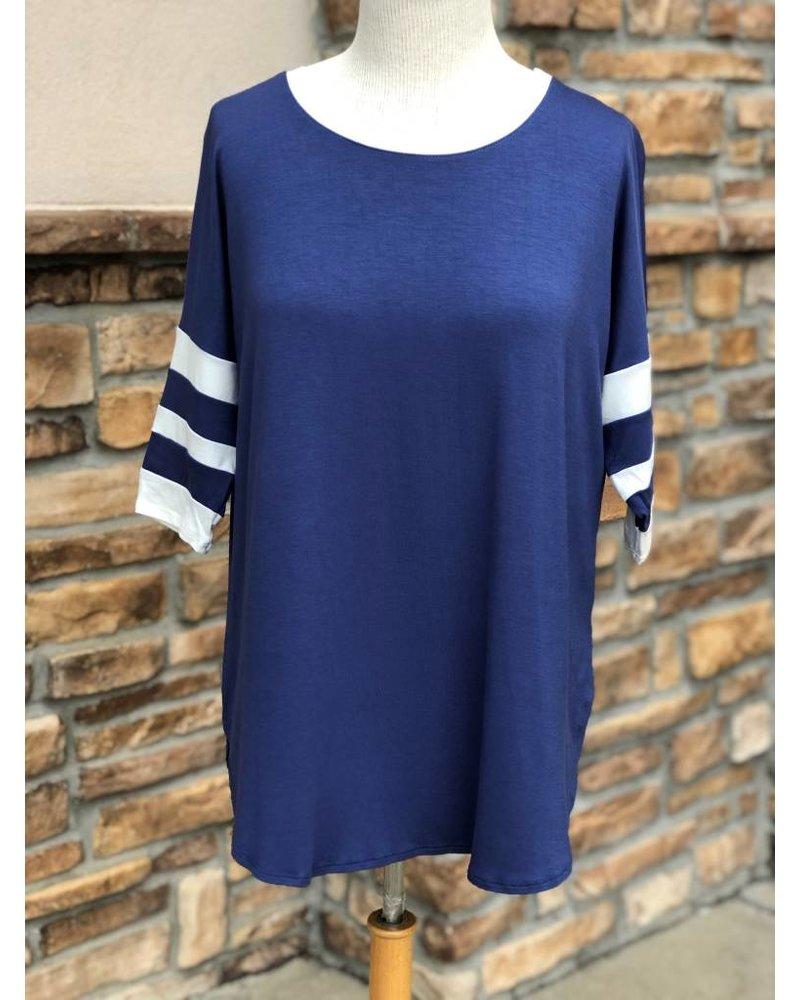 AccessHERize Blue & White Hi-Lo Striped Sleeve Top
