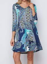 AccessHERize Blue Mixed Pattern V Neck Dress