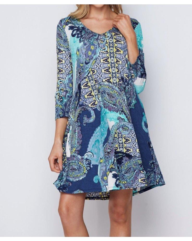 AccessHERize Blue Mixed Pattern V Neck Dress